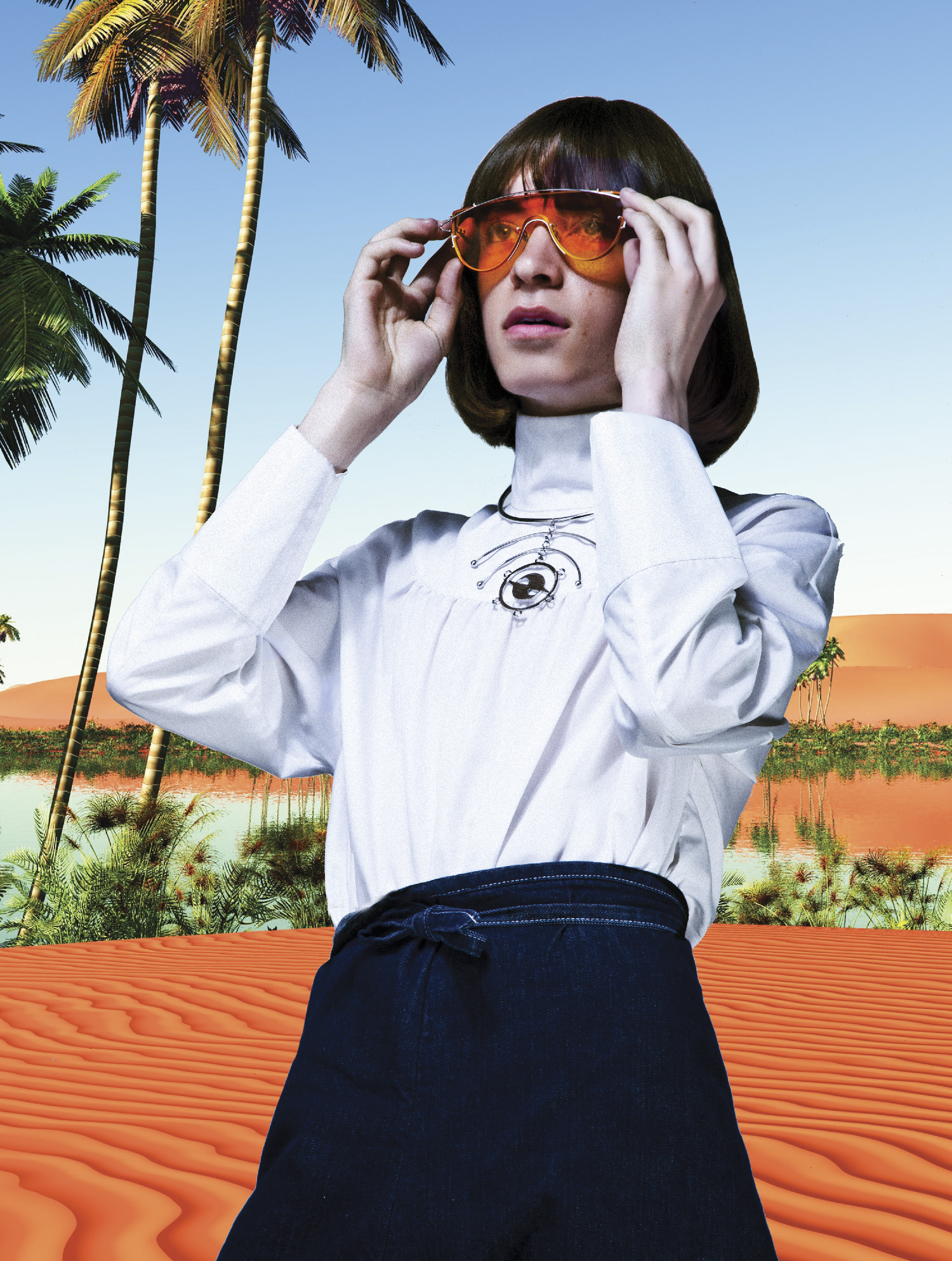 @meetkaotto wearing sunglasses by Opening Ceremony/Gentle Monster, necklace by Gypsy Sport/Chris Habana, shirts by Goen.J<br>pants by Shaina Mote